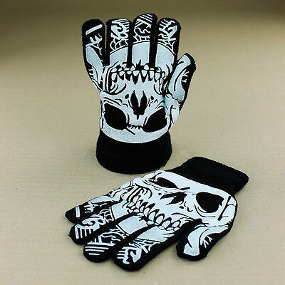 Kids Boys Children Skull Black Knitted Gloves Warm Hands Stretchy