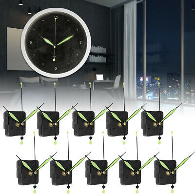 10 Kits Luminous Green Hand Silent Wall Quartz Clock Movement Mechanism DIY Part