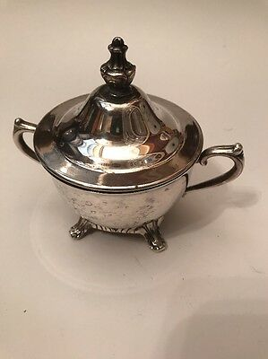 "Silver Plated Sugar Bowl 4 1/2"" Maker Unknown"