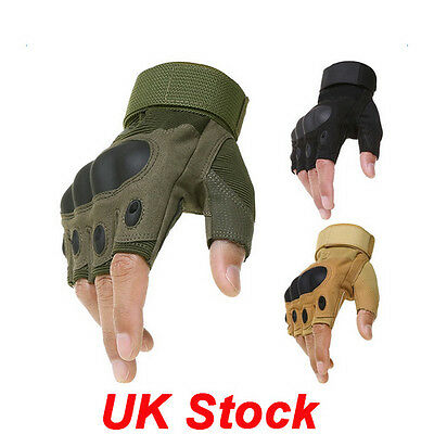 UK 1 Pair Classic Half Finger Gloves Cycling Bicycle Bike Gel Gloves Tactical
