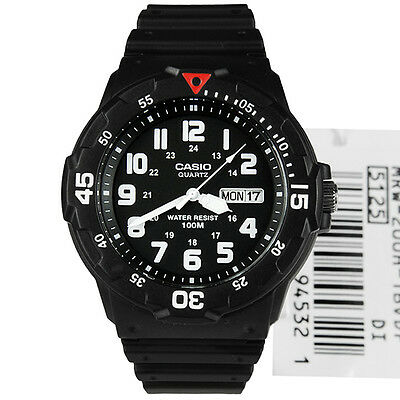 MRW-200H-1BVDF Analog Quartz White Dial Black Resin Men's Watch
