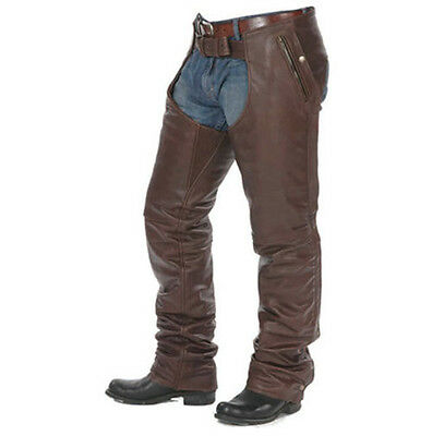 Xl Size Mens Brown Leather Motorcycle Chaps With Stretchable Thigh