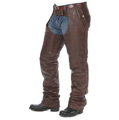 2Xl Size Mens Brown Leather Motorcycle Chaps With Stretchable Thigh