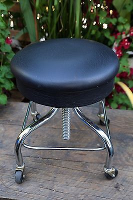 Vintage Pedigo Chrome Adjustable Black Stool