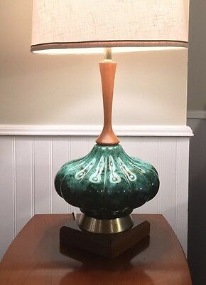 Mid-century Blue Mountain Pottery Teak Table Lamp 1970s c/w Lampshade Canada
