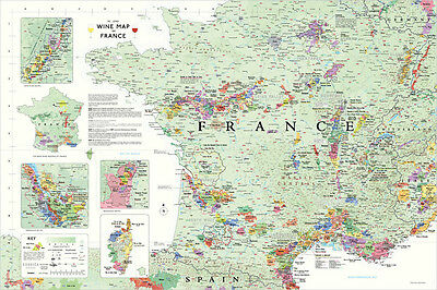 Wine Map of France by Steve De Long (MAP)