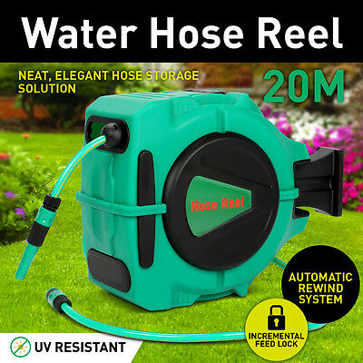 20m Retractable Auto Rewind Wall Mount Garden Water Hose Reel