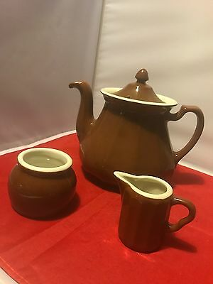 Awesome Vintage Hall Pottery Cool Shaped Pour High Teapot Brown Extras