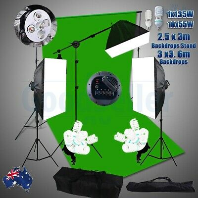 Green Screen Studio Softbox Lighting Soft Box Boom Arm Light Backdrop Stand Kit