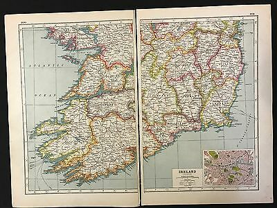 Vintage Map 1920, Ireland (South), Inset of Dublin - Harmsworth's Atlas