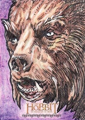 "The Hobbit Desolation of Smaug Clay Sayre ""Warg"" Sketch Card"