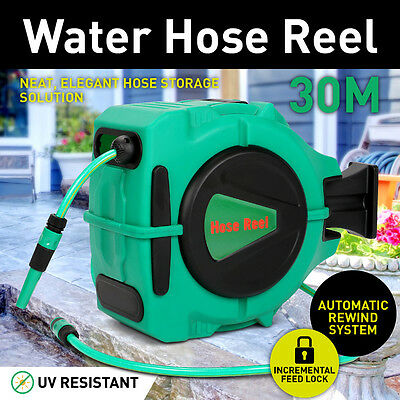 30m Retractable Auto Rewind Wall Mount Garden Water Hose Reel