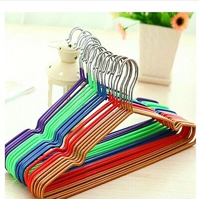 5x Coloured Wire Metal Coat Clothes Hangers Trouser Bar