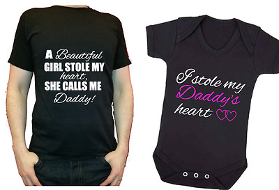 I Stole Daddy's Heart Set Fathers Day Matching Gift set Daughter Baby dad