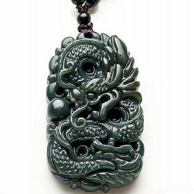 Hand-carved Natural Hetian Green Jade  Chinese Dragon Pendant Lucky Necklace