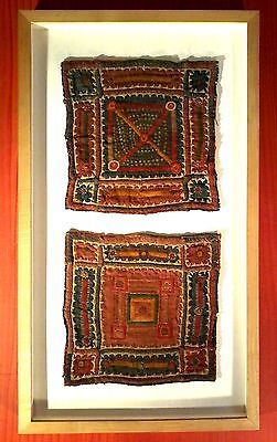 Antique Asian Textile Art Exquisite Geometric Pattern Museum Mounted N/r