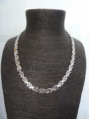 "Solid Sterling Silver Heavy Byzantine Chain 25 3/4"" - 71 grams"