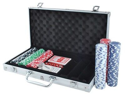 Pokerset Poker Set 300 Chips Pokerkoffer Laser Pokerchips Koffer Jetons #1755