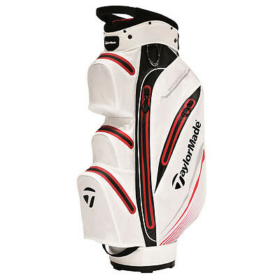 NEW TaylorMade Waterproof Golf Cart Bag - White, Black and Red