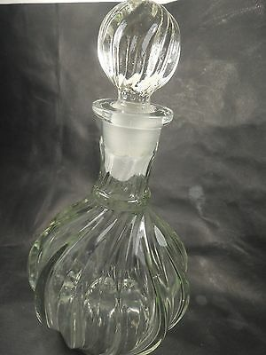 BACCARAT STYLE GLASS FRENCH SPIRAL DECANTER/Carafa WITH SPIRAL STOPPER