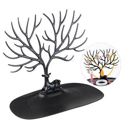 Deer Antler Tree Design Bracelet Necklace Holder Jewelry Stand w/Ring Tray