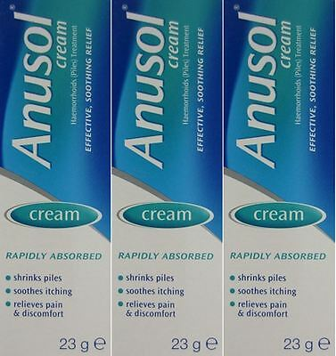 Anusol Cream 23g x 3 TRIPLE PACK- Shrinks Piles, Soothes Itching, Relieves Pain
