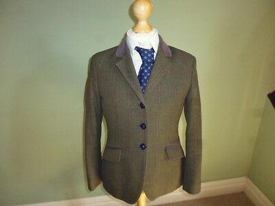 "Mears Pytchley girls green wool tweed show jacket size 28"" age 9-10 years"