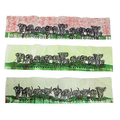 "Batik Painting: Elephant Family Hand Crafted,29.5"" x 6.5"""