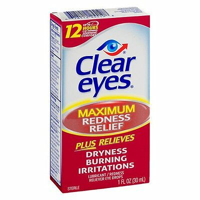 Clear Eyes Maximum Redness Relief - 1 oz  (3 PACK) + Makeup Sponge
