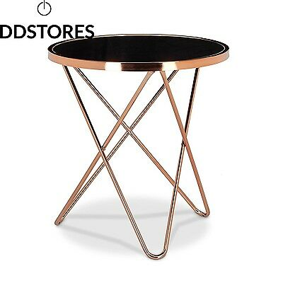 Relaxdays Table d appoint ronde en cuivre HxlxP 58 x 55 cm table console...