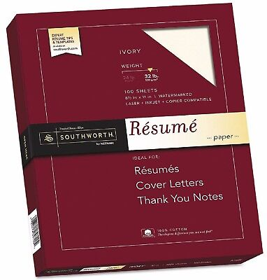 "Southworth 100% Cotton Resume Paper 32lb Ivory 100 Sheets 8-1/2"" X 11"" - New"