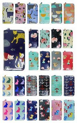 Ladies Cats Unicorn Rabbit Anchor Umbrella Floral Pattern Large Purse Wallets