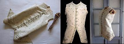 18th c STUNNING FRENCH GENTLEMAN SILK WAISTCOAT W POLYCHROME FLORAL EMBROIDERY