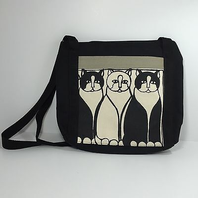 Black And White Cat Handcrafted Canvas Tote Bag