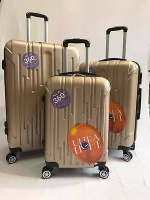 Hard Shell Suitcase ABS Set of 3pcs 4 Wheel Luggage Ultra Light weight