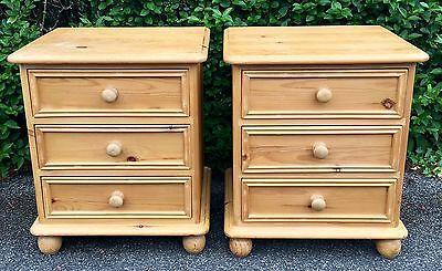Pair Of Solid Pine 3 Drawer Bedside Cabinets / Tables / Units / Chests