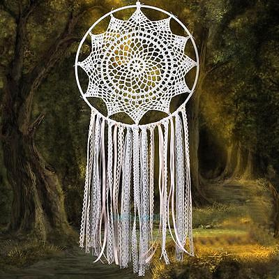 Lace Tassel White Dream Catcher With Feathers Wall Hanging Decor Ornament Gift #