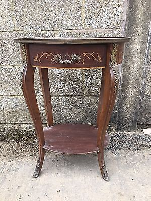 Unusual, Antique French Inlaid Bedside Table, Louis XV