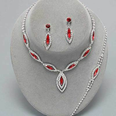 Red diamante necklace bracelet earring set bridesmaid party prom bridal 0217