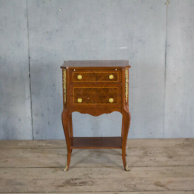 Unusual, Antique French Inlaid Bronze Bedside Table, Louis XV
