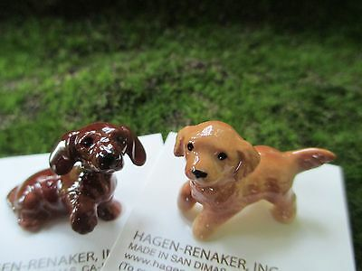 HAGEN RENAKER Dog Mini Figurines- (1  DACHSHUNT PUP & 1 GOLDEN RETRIEV PUP) NEW
