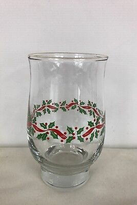 Arby's | Vintage Tumbler | Christmas | Holly | Berries | Ribbon | Footed | 16oz
