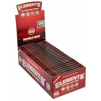 2x Packs ( Elements Red Single Wide ) Ultra Thin Rice Rolling Papers Paper