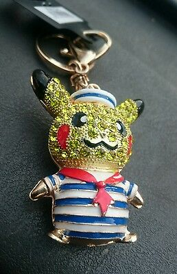 GOLDEN KEYRING POKEMON, PIKACHO HANDBAG CHARM Heavy Quality Crystal IN COLOUR