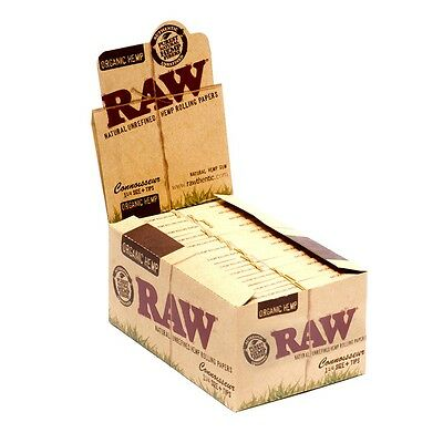 Full Box 24x ( RAW Organic Hemp Connoisseur 1 1/4 1.25 ) Rolling Papers + Tips
