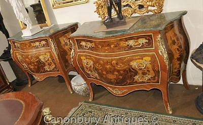 Louis XVI Bombe Chest of Drawers Commodes Marquetry Inlay
