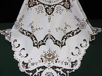 Vintage White Linen Tablecloth-Cutwork Taupe Madeira & Hand Embroidered Florals