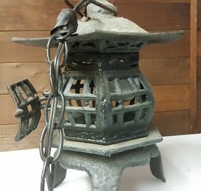 Antique Japanese Hanging Temple Lantern Iron Converted To Lamp