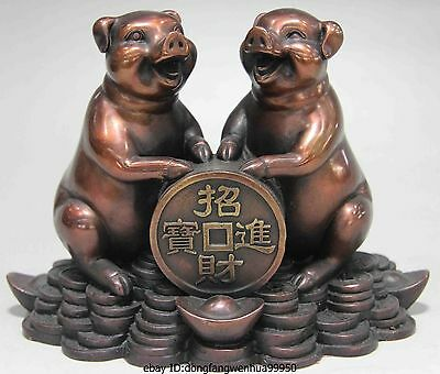 Chinese Folk Red Copper Bronze FengShui Lucky Wealth YuanBao Coin Two Pig Statue