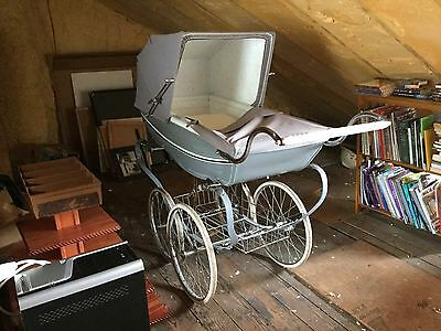 ANTIQUE Pram SILVER CROSS Luxury Baby Carriage VINTAGE